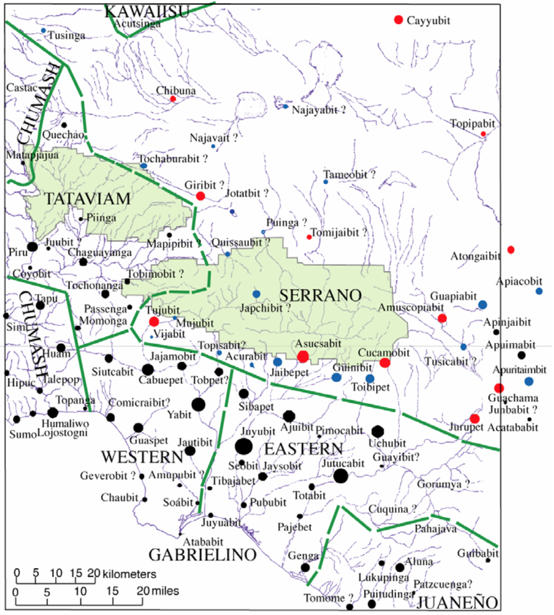 Chester King 2004 Map of Settlements Recruited at San Fernando and San Gabriel Missions in Relation to the Angeles National Forest